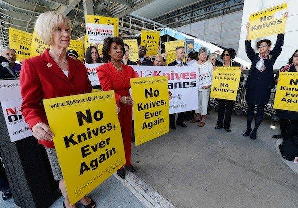 Reps. Janice Hahn, left, and Maxine Waters, both Democrats from Los Angeles, participate in an April protest at Los Angeles International Airport of the TSA's plan to allow small knives on planes.
