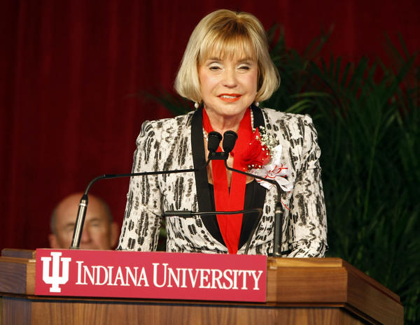 Indiana University South Bend Chancellor Una May Reck speaks Wednesday at the dedication of the Education and Arts Building on campus where her tenure was recognized. Reck is stepping down later this year from her post.