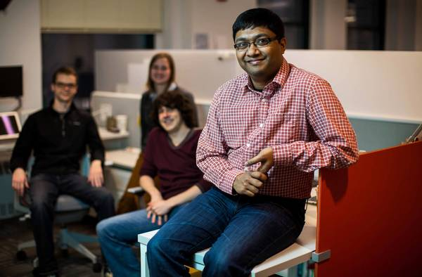 Archie Gupta, CEO of Root3 Technologies, said the infusion of money helped keep the Chicago-based company from moving. With Gupta are members of his team, Algirdas Bielskus, from left, Allison Hannon and Joshua Keeler.