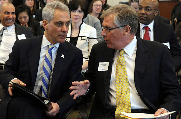 Mayor Rahm Emanuel and Caterpillar CEO Doug Oberhelman and other business and civic leaders gathered at the Ann and Robert H. Lurie Children's Hospital to launch the Illinois Business Immigration Coalition.