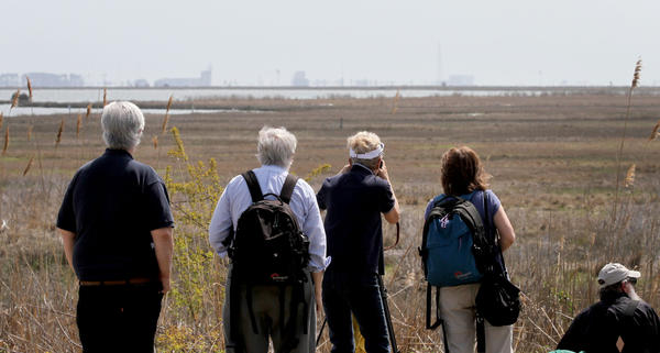 Spectators line up to get a front row seat for the launch of an Antares rocket at Wallops Flight Facility visitors center Wednesday on the Eastern Shore. The launch ended up being scrubbed after a malfunction with an umbilical cable which detached prematurely.