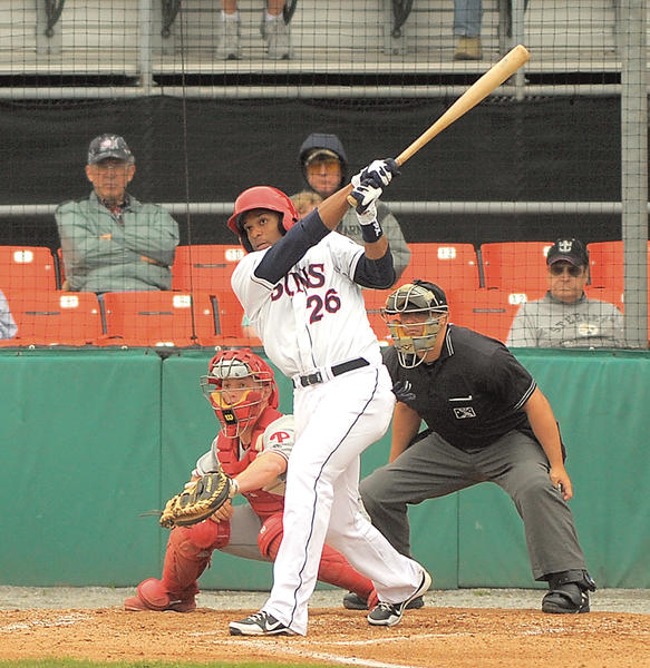 Hagerstown's Wander Ramos follows the flight of his two-run triple in the first inning Wednesday at Municipal Stadium.