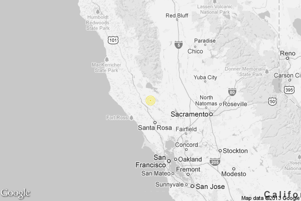 A map showing the location of the epicenter of Wednesday evening's quake near Cobb, California.