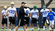 It wouldn't be spring practice without a little on-the-job training. UCLA's Taylor Lagace and Nate Iese have been moved to new positions.