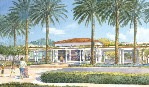 A rendering of the planned education and visitors center at the Huntington Library, Art Collections and Botanical Gardens in San Marino.