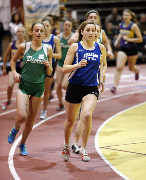 Aberdeen Central's Hannah Kastigar, right, leads the field during a race at the Barnett Center last month. Kastigar is one of many individuals who have turned in a better mark this season compared to the same stage a year ago. She currently leads Class AA runners in the 1,600-meter and 3,200-meter runs.