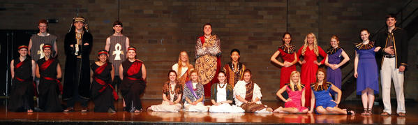 The cast of Aberdeen Roncallis production of Aida includes, from left: Taylor Wilson, Tyler Wanttie, Abby Dockter, Mitch Musel, Tiffany Maunu, Chad Hay, Shelby Bauer, Faith Heller, Brooke Olson, Tage Hanson, Chris Hilzendeger, Bailey Dix, Hosea Kost, Jenna Croymans, Mariah Goetz, Taylor Hanson, Mattie Zerr, Anna Sayler, Kaylyn Dieter, Rachel Morrison and Dominic King. Not pictured: Mollee Karst, Favian Aguirre and Michael Sperry.