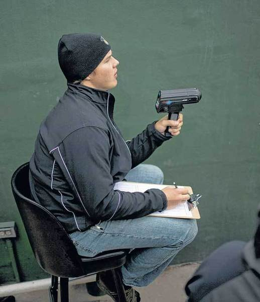 After tossing a 7-inning no-hitter on Sunday, Silver Hawks pitcher Kyle Schepel was manning the radar gun Wednesday to record pitch speeds by teammate Jesse Darrah at Coveleski Stadium.