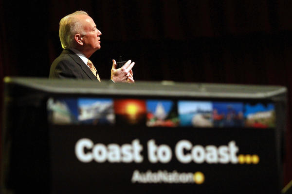 "CEO Mike Jackson announced the company's new ""Coast to Coast"" branding campaign during an AutoNation rally held at Bailey Concert Hall at Broward College in Davie Feb. 1"