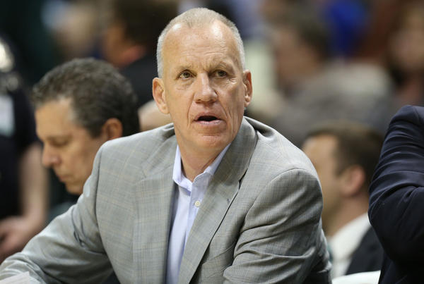 Doug Collins watches the 76ers play against the Indiana Pacers at Bankers Life Fieldhouse on April 17 in Indianapolis.
