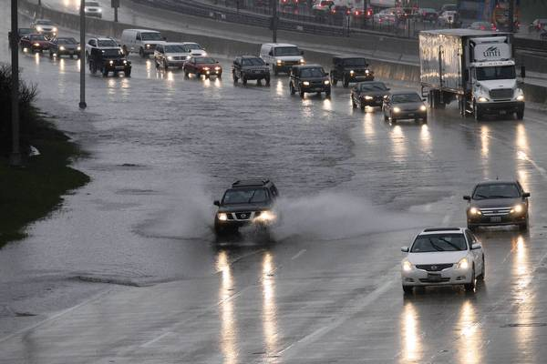 Inbound traffic faces flooding on the Kennedy Expressway.