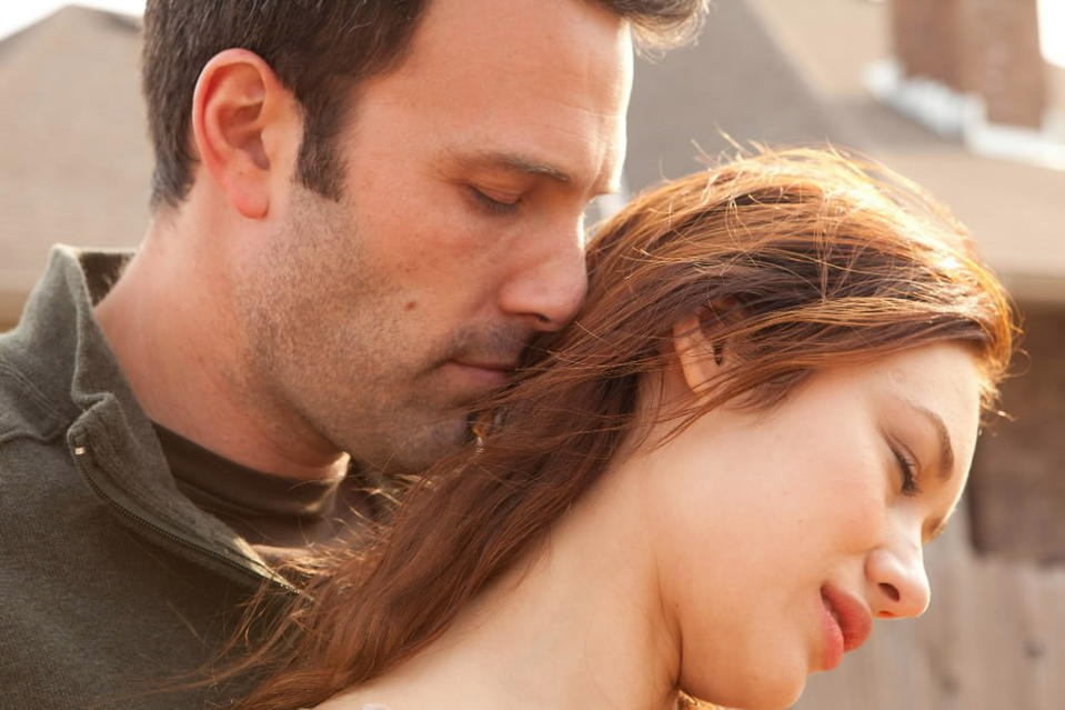 """<b>R; 1:52 running time</b><br><br>It depicts an Oklahoma man, played by Ben Affleck; a Ukrainian woman living in Paris, played by Olga Kurylenko; another woman back in Oklahoma, Rachel McAdams; and a fourth character, a Catholic priest stricken by a crisis of faith and purpose, played by Javier Bardem. Affleck's Neil, whom we see sampling soil for groundwater contamination in and around his hometown of Bartlesville, has met Marina (Kurylenko) in Paris. Romance has bloomed. """"I'll go wherever you go,"""" she whispers to us in voice-over, before they explore Mont St. Michel, on an island off the Normandy coast. -- Michael Phillips<br><br><a href=http://www.chicagotribune.com/entertainment/movies/sc-mov-0416-to-the-wonder-20130418,0,2700753.column>Read the full """"To the Wonder"""" movie review</a>"""