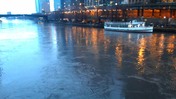 The Chicago River is devoid of traffic as new rainstorms hit Chicago.
