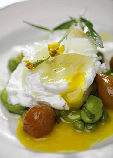 Warm fava bean salad with poached egg ( Andres Aravena / Courtesy ...