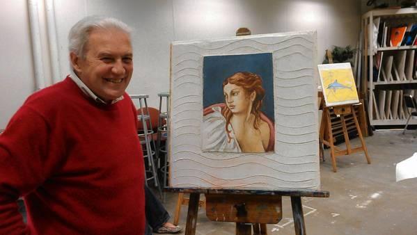 Professor Giuseppe Corazzina teaches fresco making at Seminole State College.