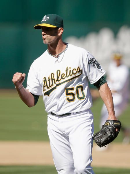 Grant Balfour of the Athletics reacts after Oakland beat Houston Houston this week.