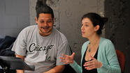 Director Edward Torres and playwright Quiara Alegría Hudes at the Goodman Theatre.