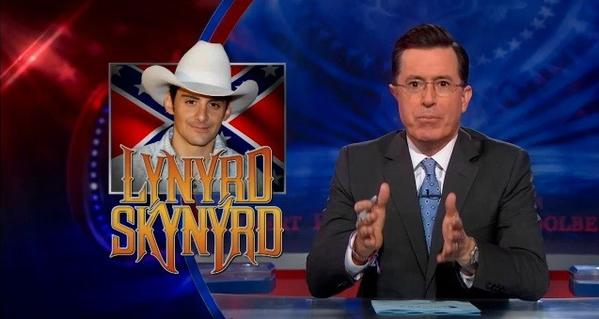 "Stephen Colbert weighed in on Brad Paisley's ""Accidental Racist"" song with a parody."