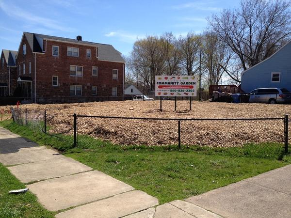 An empty lot on Chapman Street in New Britain that city officials are working on turning into a community garden.