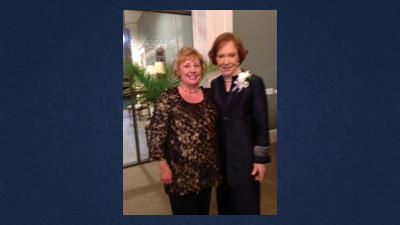 Barbara J. Duryea, director of the Conemaugh Health Systems Research and Development Neuroscience and Pain Institute/Diabetes Institute, and former first lady Rosalynn Carter.