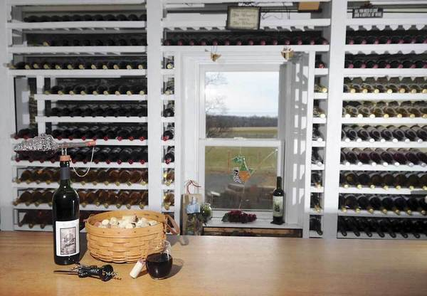 Wine displayed at Mount Felix Vineyard & Winery in Havre de Grace, Md.