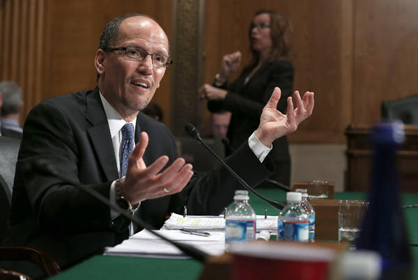 U.S. Labor Secretary nominee Thomas Perez testifies during his confirmation hearing before the Senate Health, Education, Labor and Pensions Committee.