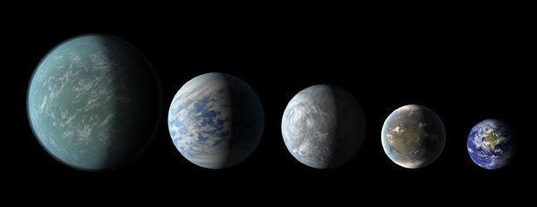 NASA's Kepler mission has detected more planets in stars' habitable zones. Pictured, left to right: Kepler-22b, Kepler-69c, Kepler-62e, Kepler-62f and Earth.