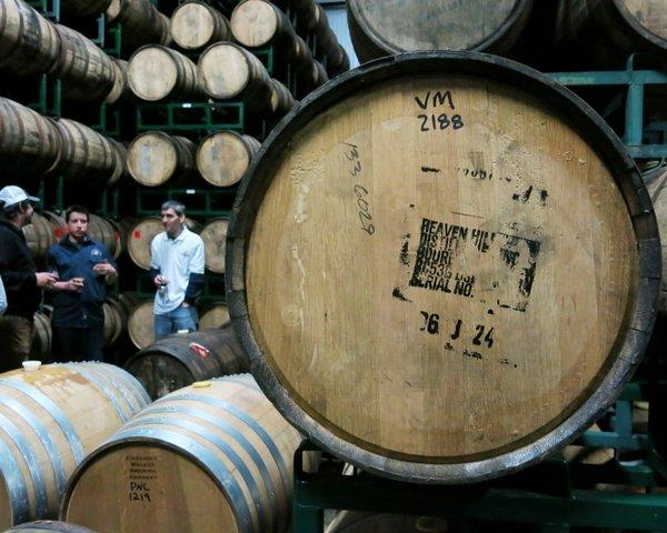 Oatmeal stout in a used bourbon barrel among the hundreds of barrels at Firestone Walker's Paso Robles cellar.