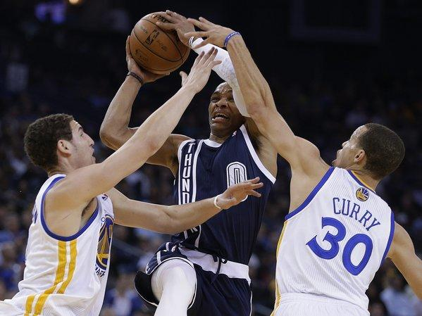 Golden State's Klay Thompson, left, and Stephen Curry need to stay crazy hot throughout the series for the Warriors to beat Denver in the first round.