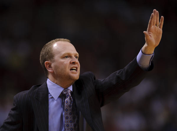 Detroit Pistons head coach Lawrence Frank reacts against the Miami Heat during the second half at American Airlines Arena. Heat won 103-89.