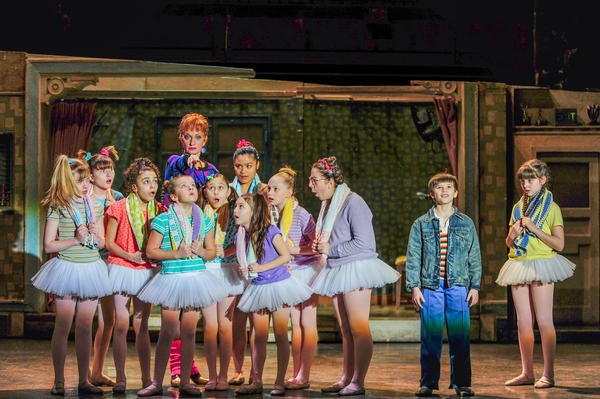 "Mitchell Tobin, second from right, as Billy in ""Billy Elliot"" at Segerstrom Center for the Arts."