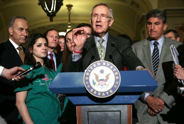 Majority Leader Harry Reid (D-Nev.) after the Senate vote Wednesday on expanded background checks on firearms purchases.