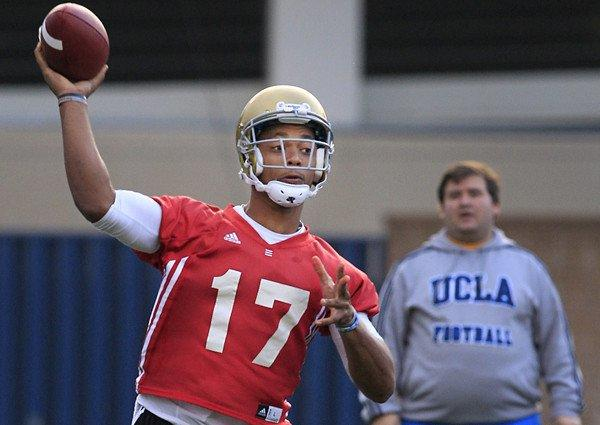 UCLA quarterback Brett Hundley makes a pass during a practice earlier this month.