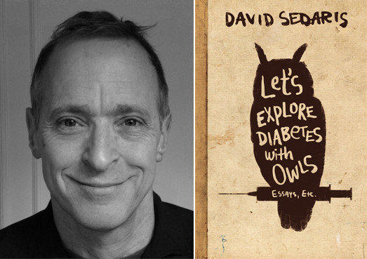 "Author David Sedaris and the cover of his book, ""Let's Explore Diabetes with Owls."""