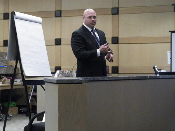 Broward Sheriff's Deputy Jerry Wengert testifies at his misconduct and battery trial Wednesday, April 17, 2008.
