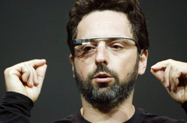 Google co-founder Sergey Brin introduces Google Glass during the company's annual developer conference in June 2012.