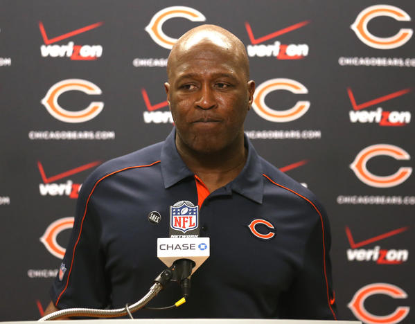 Lovie Smith during a press conference following a win over the Lions at Ford Field.