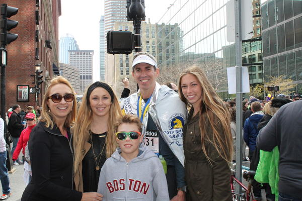 From left, the Kimball family -- Terri, Amanda, Daniel, Stephen and Natalie -- at the Boston Marathon on Monday.