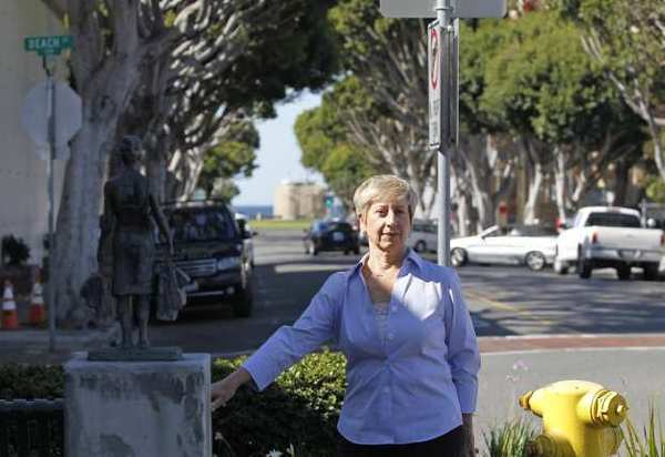 Johanna Felder, a 26-year Laguna Beach resident, would like to see a traffic study done to address the downtown parking and traffic issues, which include making Ocean Avenue, where she stands here, a one-way street.