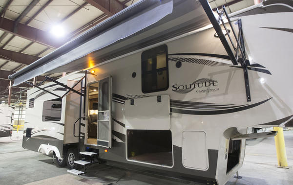 The Solitude line of RV's is on display Thursday during a hiring announcement ceremony at Grand Design RV in Middlebury.