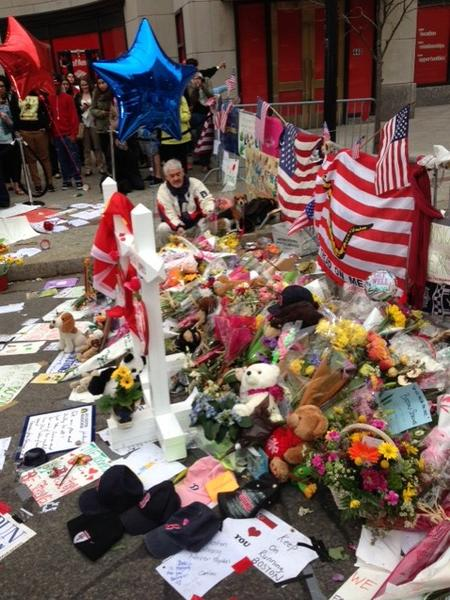 In Boston, a memorial for victims of the marathon bombings continues to grow.