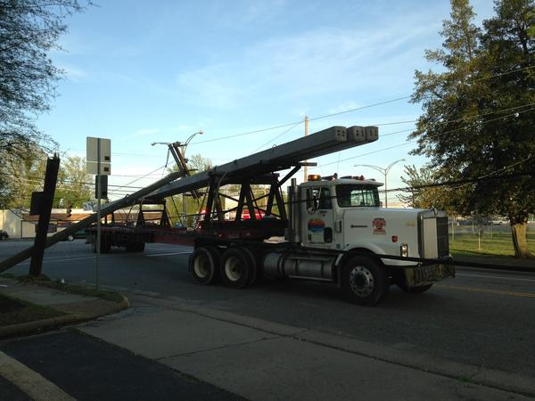 A tractor trailer took down power lines at the intersection of Warwick Boulevard and 75th Street in Newport News.