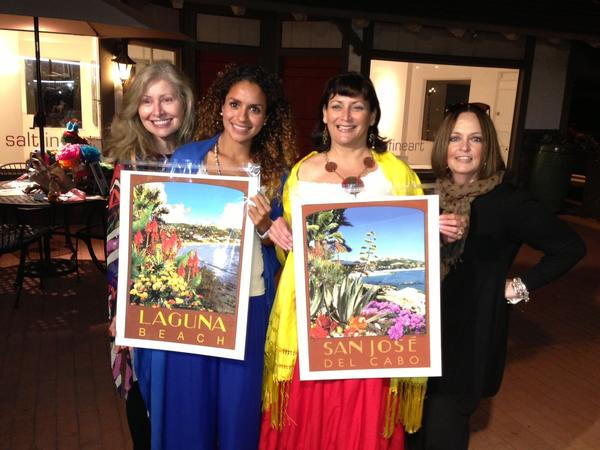 President of Laguna Beach Sister Cities Assn. Karyn Philippsen; Alicia Cota, director of foreign residence at San Jose del Cabo; Fabiola Kinder, chairwoman of Sister Cities Assn.'s Future Committee; and Susan Davis, social chairwoman, with Bill Atkins-designed poster originals.