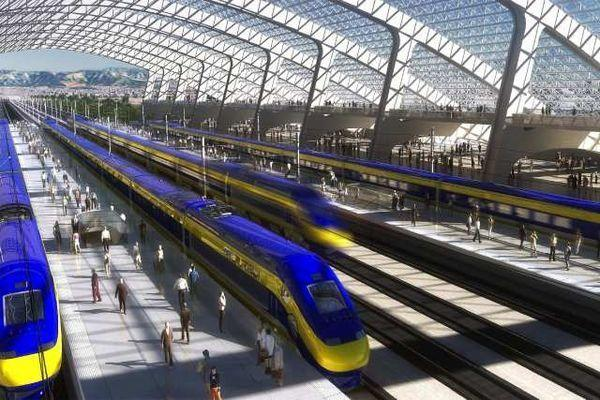 An artist's rendering of a station for the proposed California high-speed rail system.