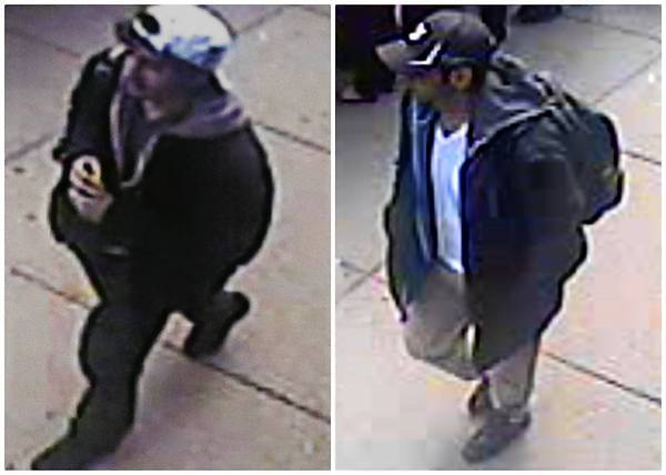 The FBI is seeking the public's help in identifying two Boston bombing suspects captured in surveillance video.