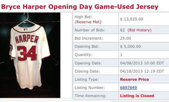 The listing for the Bryce Harper jersey auction.