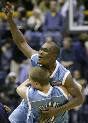 University of San Diego basketball player Brandon Johnson, here celebrating a victory, was caught up in a betting operation.