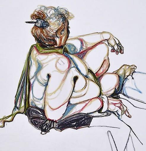 """Woman Leaning Back on Elbow"" by Cathy Z. Sawdey."