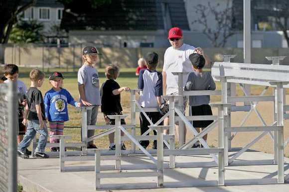 Aluminum bleachers were stolen from a Little League field.