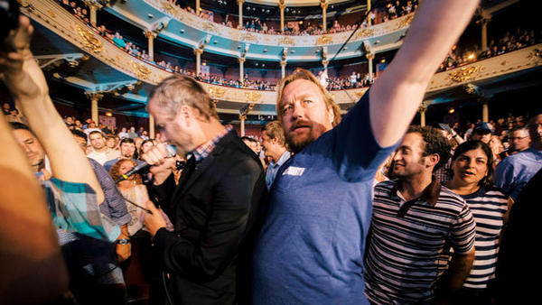 Director Tom Berninger, right, with brother and National front man Matt Berninger, left, at a National show.